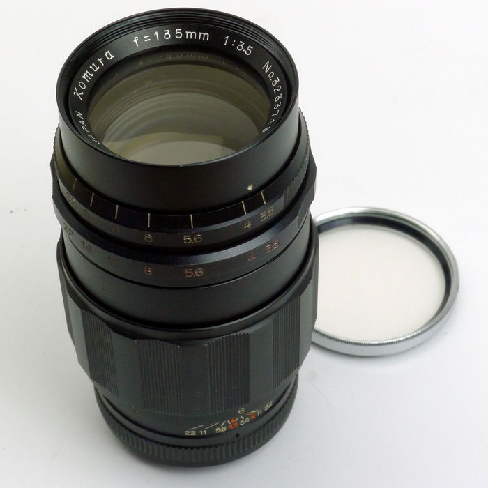 Komura Sankyo Kohki 135mm f3 5 Preset  M42  16-blade diaphragm! Made for  Leica rangefinder cameras in the 1960's and 70's  With B&W 49E filter -