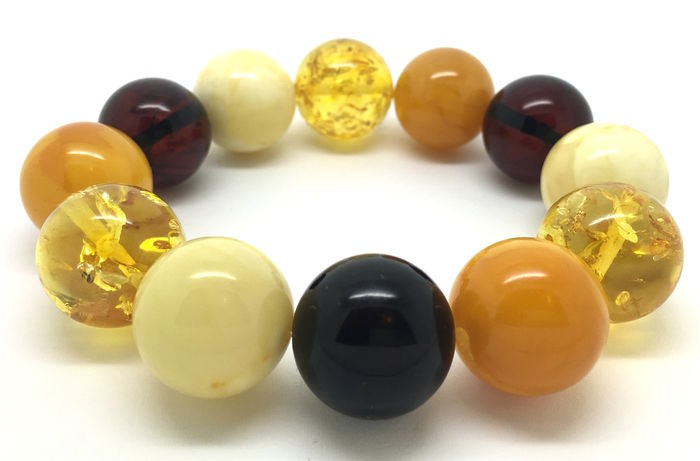 Amber multicolour beaded bracelet