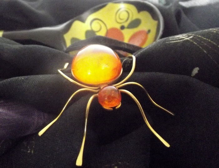 Vintage Insect Amber broche
