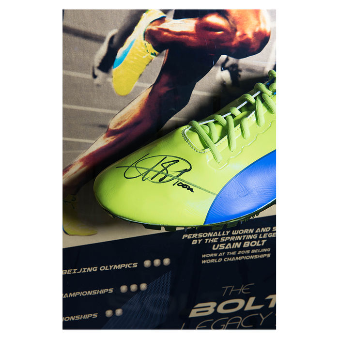 Puma Spiked Trainer of Usain Bolt worn in the 2015 World Championships   Signed and Framed de454ddac