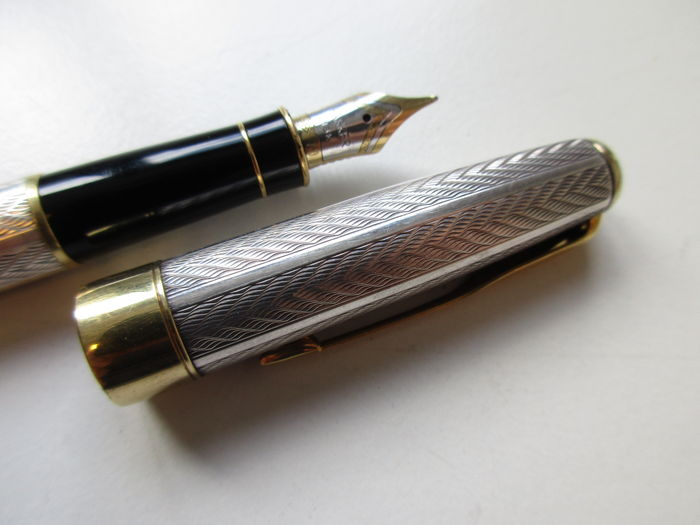 Parker sonnet fougere sterling silver 925 fountain pen with 18k