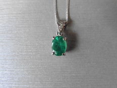 Platinum Diamond-set Emerald Pendant