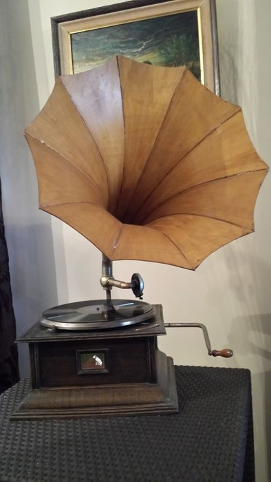 rare et ancien path la voix de son maitre ancien phonographe gramophone de salon a t te. Black Bedroom Furniture Sets. Home Design Ideas