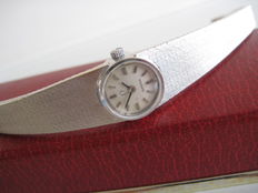 Omega Genève women's wristwatch, vintage, 18 kt white gold