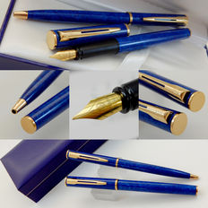 Waterman Apostrophe Ballpoint & Fountain Pen | Marble Blue Lacquer GT | New Old Stock - Mint Condition