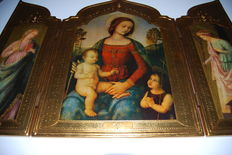 Large religious Icon Triptych - Mother of God - 20th century.