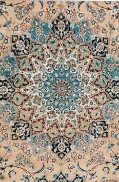Authentic NAÏN CARPET 6LA in wool and silk, about 1,000,000 knots/m².