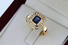 Jewellery ring in 18 kt gold + Sapphires + Diamonds
