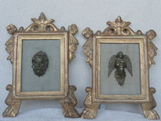 Finely carved pure gold altar card frames, late 18th century
