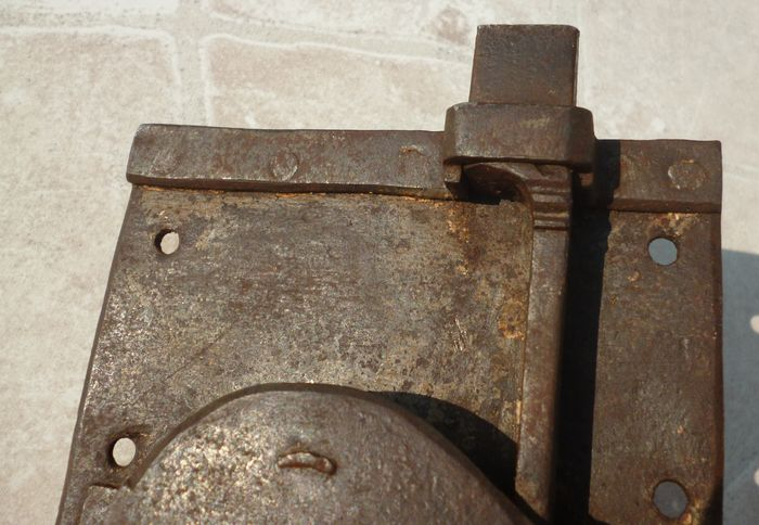 Fine antique forged lock with original key for cabinet for 18th key of the door