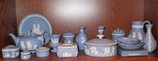 A large collection of Wedgwood Blue Jasperware, England, late 20th century