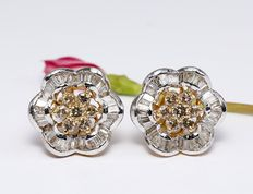 Gold diamond earrings studs in 14 kt hallmarked yellow gold - *** NO RESERVE ***