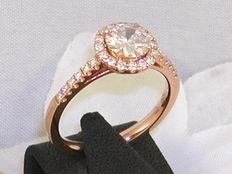 Rose gold solitaire diamond ring of 1.08 ct