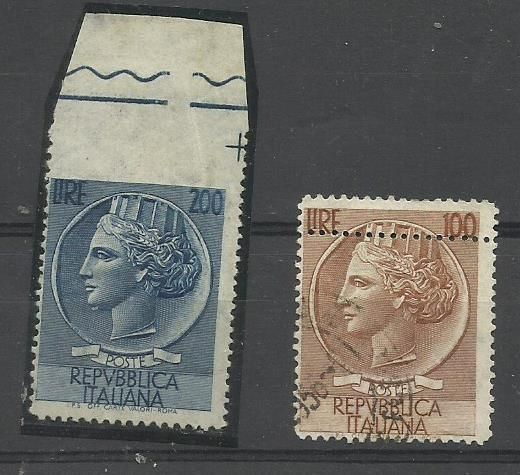 Italy 1955/1957 - Siracusana with star watermark 100 and 200