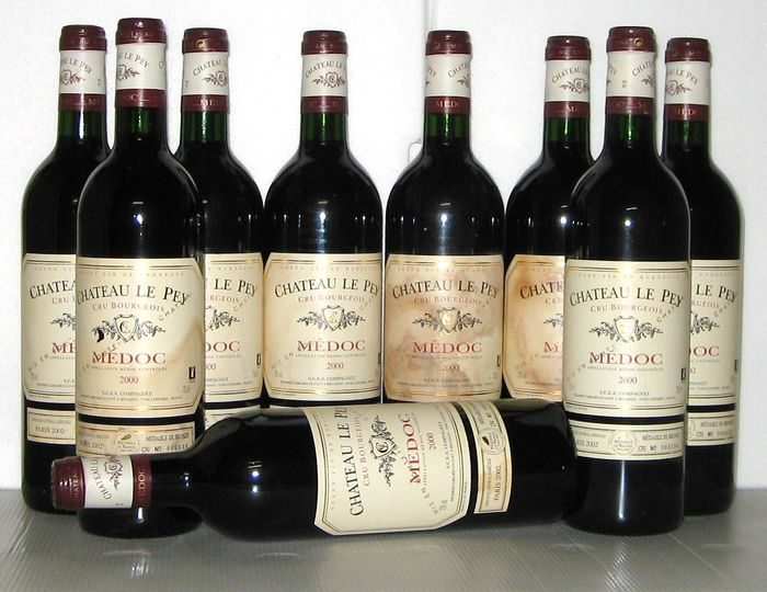 2000 ch teau le pey cru bourgeois de medoc lot of 9 bottles catawiki. Black Bedroom Furniture Sets. Home Design Ideas