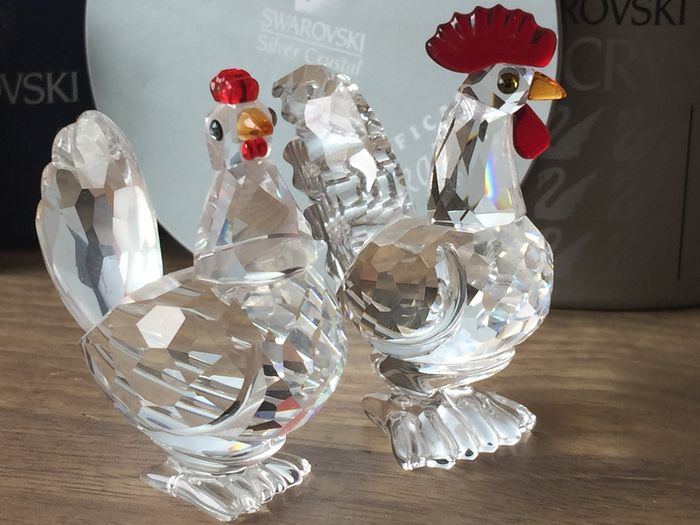 a151149e8f346 Swarovski - Cockerel with red comb - Hen with red comb - Catawiki