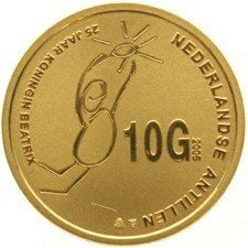 Netherlands Antilles – Gold 10 Guilder coin 2005 Jubilee in case – gold