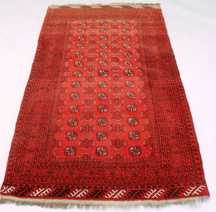 Nice Afghan Art Deco Orient Rug Wool On Wool Around 1950