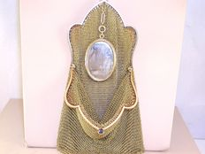 Antique gold money pouch, set with cabochon sapphire and pearls.
