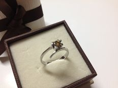 18 kt white gold engagement ring with solitaire diamond - Size: 16 (IT)