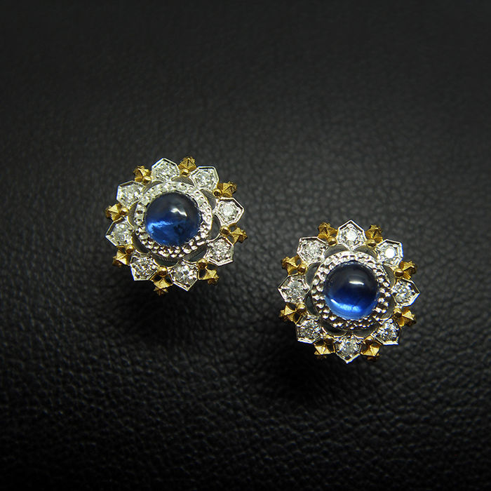 18ct Gold Sapphire Earrings with Diamonds - Size: 10.5 mm