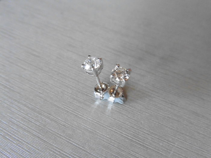 Platinum  Solitaire Diamond Stud Earrings - 0.90ct  I, SI2