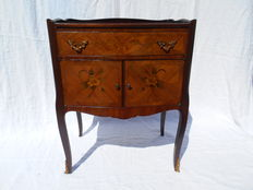 Bedside table or small chest of drawers in rosewood and marquetry, France, second half of the 20th century