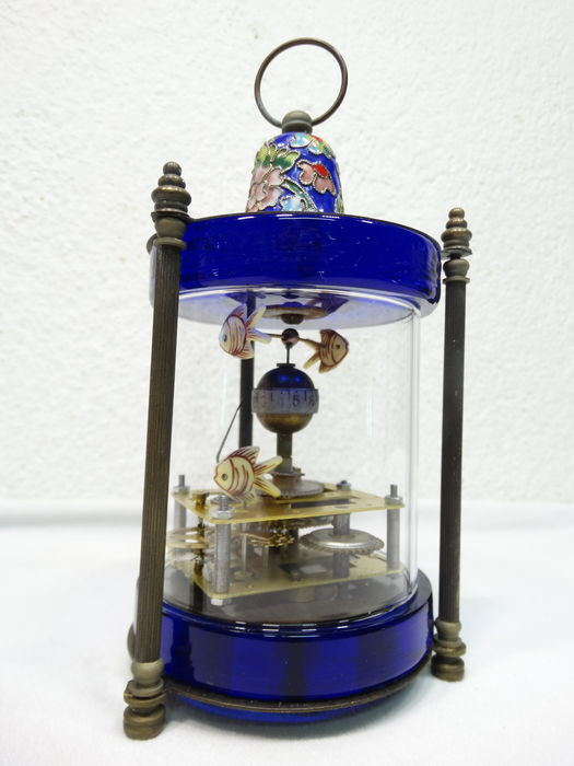 Desk/table clock in glass cylinder - Late 20th century