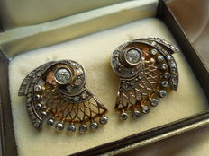 Gold and Silver Diamond Fancy Earrings, old compliation from beginning of 20th century, handmade!