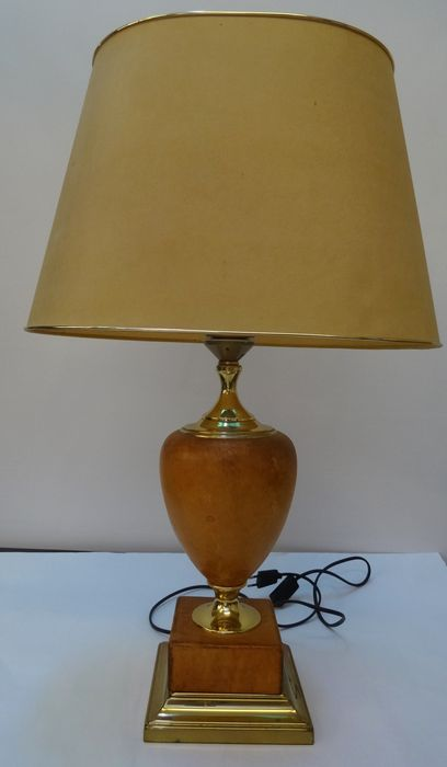 Le Dauphin France, A Big Brass And Leather Table Lamp, France, Late 20th