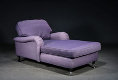 Chaise longue in purple fabric, 21st Century