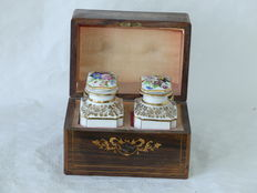 A wooden box with porcelain flacons - France - approx. 1870
