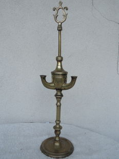 Two-light bronze desk lamp - Florence - around 1800