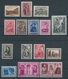 "Belgium, 1939, complete year with ""Rubenshuis"" (Rubens House museum) and the third Orval, OBP 496/526"