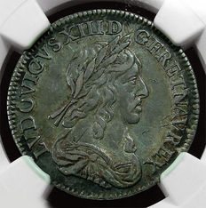 France - Louis XIII - ¼ Ecu 1643 D Lyon (3 points variety) - Silver