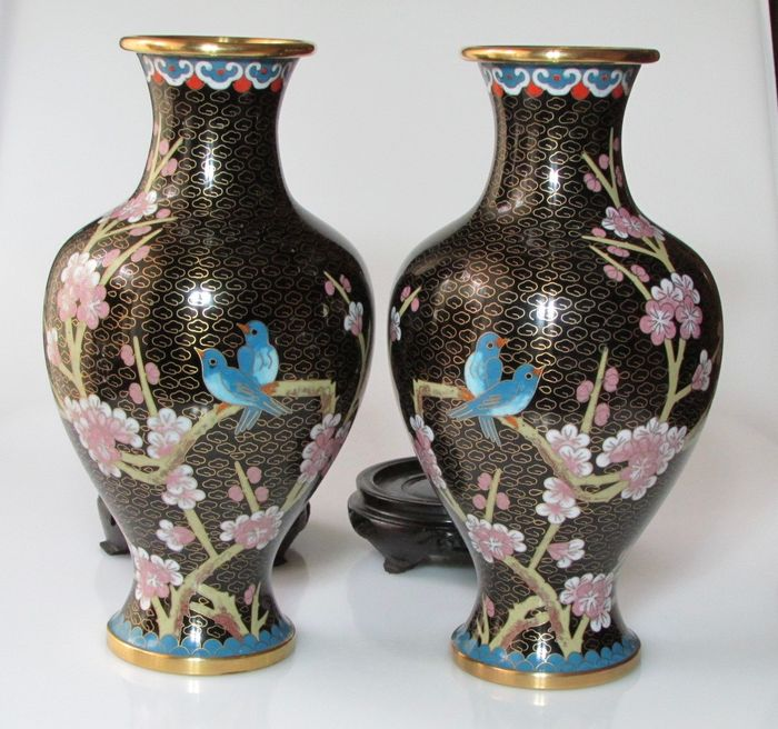 Couple Of Chinese Cloisonne Vases China Second Half Of 1900s