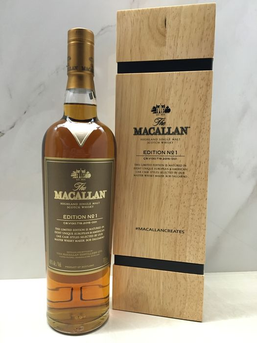 Macallan Edition No. 1 Limited Edition in Wooden Box 1500 bottles Only