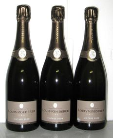 2009 Champagne Louis Roederer Vintage – Lot of three bottles