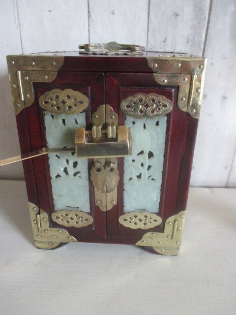Chinese jewelry box with jade inlay China second half of 20th