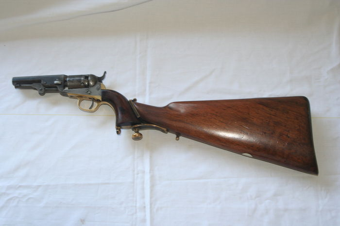 Colt 1849 ( 31 caliber pocket) with custom period rifle stock and revolver  chest - Catawiki