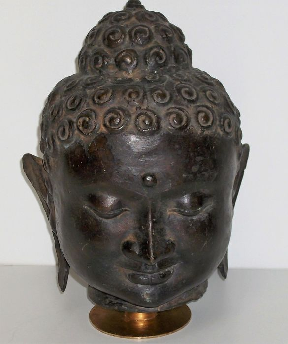 Bronze Buddha head - Bali, Indonesia - second half 20th century
