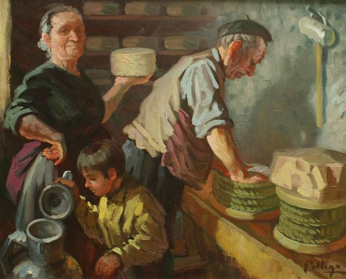 A. Gallego (20th century) - Making cheese
