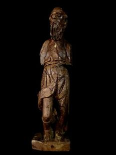 Carved Saints sculpture of Rochus - supposedly Spain -17th century