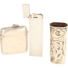 Silver lighter and holders