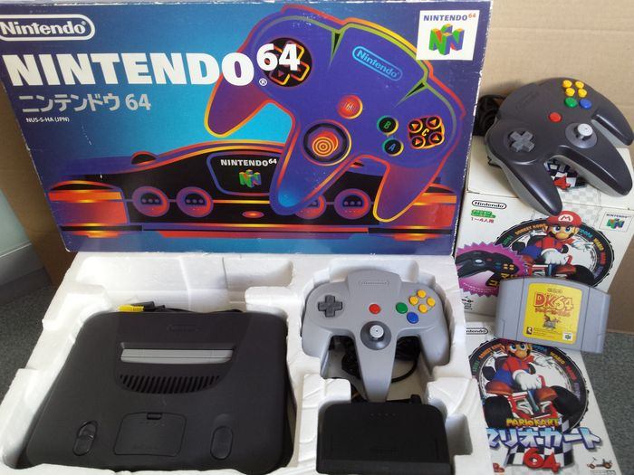 Japanese Nintendo 64 Console With Expansion Pak Special Mario Kart Controller Package And Donkey