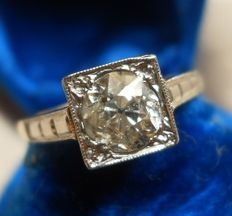 Solitaire 1.00 ct Old-Cut /Bolshevik/ Diamond Ring Art Deco Style, Stunning!