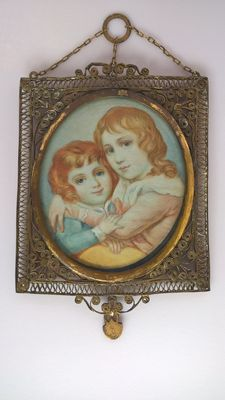 Miniature on ivory with a unique gold-plated frame - France - 19th century