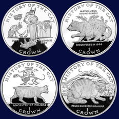 Isle of Man - 1 Crown 1997 'History of the cat' (4-coin set) - silver