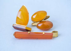 Set of natural Baltic amber brooch, pair of cufflinks and clip clasp natural butterscotch, egg yolk amber