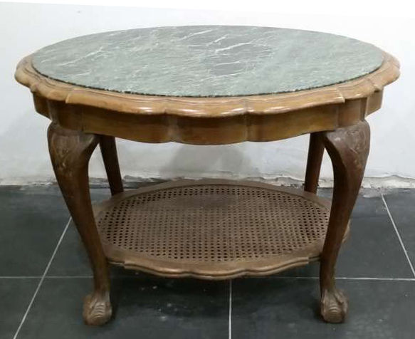 Salon table Louis XV style - Marble table top and wicker reeds at ...